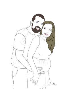 expecting couple illustration