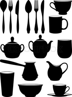 """Buy the royalty-free Stock vector """"Set of silhouettes dishes."""" online ✓ All rights included ✓ High resolution vector file for print, web & Social Media Stencil Patterns Letters, Stencil Templates, Letter Patterns, Glitter Wine Glasses, Diy Wine Glasses, Wall Painting Decor, Tree Quilt, Paper Art, Screen Printing"""