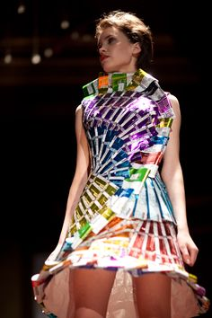 dress made entirely out of recycled vitamin water labels