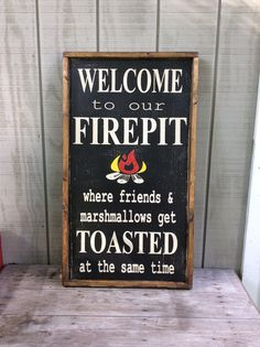 Welcome To Our Firepit Sign Fire Pit Sign by sophisticatedhilbily