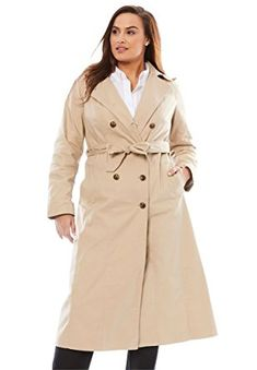 Jessica London Women's Plus Size Double Breasted Long Trench Coat Review