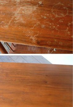 Затертый стол Смешайте полстакана уксуса и полстакана оливкового масла, смочите тряпку в смеси и втирайте в дерево