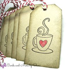 Coffee Cup with Heart Tags by CardsAndMoreBySheri on Etsy