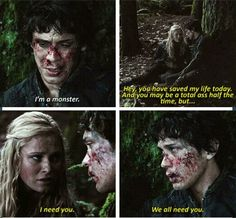 """I'm a monster."" ""I need you"" Bellamy Blake and Clarke Griffin #the100 #bellarke (Bob Morley and Eliza Taylor)"