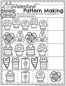 Valentine Patterns Worksheet for Preschool
