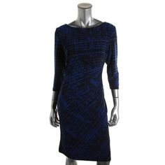 Lauren Ralph Lauren 0863 Womens Blue Printed Wear TO Work Dress 8 Bhfo | eBay
