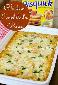 Bisquick Chicken Enchilada Bake recipe The Country Cook Chicken Enchilada Bake, Chicken Enchiladas, Enchilada Sauce, Taco Sauce, Bisquick Recipes, Jiffy Recipes, Carbquik Recipes, Easy Recipes, Healthy Recipes