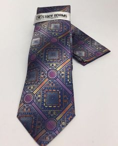 Stacy Adams Tie & Hanky Set Navy Lavender Orange & Gold Men's 100% Microfiber  | eBay