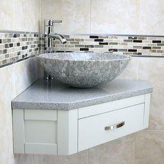 Corner Sink Bathroom Small, Corner Vanity Unit, Corner Basin, Bathroom Design Small, Bathroom Interior Design, Kitchen Interior, Small Basin, Washbasin Design, Stone Basin