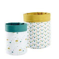 2 vide-poches en coton jaune/vert H 25 et H 30 cm   Maisons du Monde