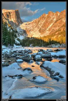 Subalpine lake sunrise in Rocky Mountain National Park