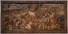 Artist: van Orley, Bernard, Title: »The Battle of Pavia«, tapestry set woven in the Dermoyen workshop, Date: 1528-1531 Description: The Mutiny of the Swiss Pikemen is the fifth tapestry in the cycle. It shows numerous Swiss mercenaries fleeing the French camp. In the foreground, the leader of the regiment, Jean de Diesbach, is about to be beheaded by an imperial soldier on horseback