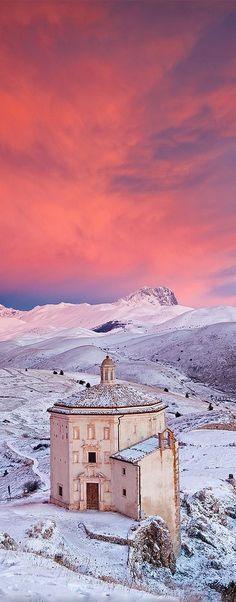 The Lonely Church (Chiesa di Santa Maria della Pietà) - Parco Nazionale Del Gran Sasso, Abruzzo, Italy I flickr by Corsaro078