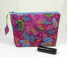 Cosmetic pouch, cotton toiletry bag,  fabric cosmetic organiser,  Womens zipper pouch, Makeup case by JRsbags on Etsy