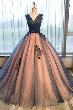 Princess Prom Dresses, 2019 Quinceanera Dresses Ball Gown V-Neck Tulle ?With Handmade Flowers Bow Knot, Plus Size Formal Dresses and Plus Size Party Dresses are great for your next special Occassion at cheap affordable prices The Dress Outlet. Dark Blue Prom Dresses, Fancy Prom Dresses, Xv Dresses, Quince Dresses, Pretty Dresses, Formal Dresses, Long Dresses, Elegant Dresses, Dark Blue Gown