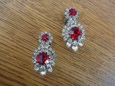 Stunning Vintage Ciner Style Faceted Faux Ruby Rhinestones Clip Earrings Germany #Cinerstyle #VintageEarrings