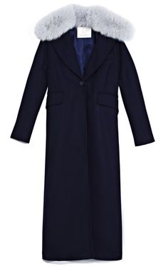 Opening Ceremony Cash Single Button Overcoat With Fox Collar