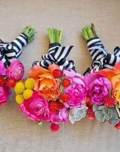 colorful wedding bouquets with striped ribbon / http://www.himisspuff.com/black-and-white-sassy-stripes-wedding-ideas/6/