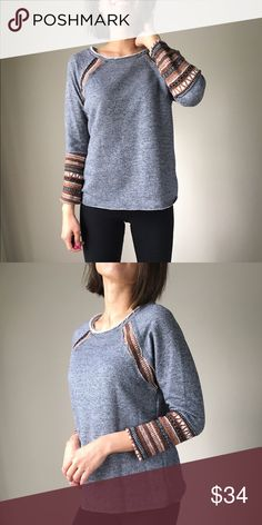 "Fall distressed and pattern top. Made in USA Casual chic sweater top with distress trim with detailed pattern on the sleeve. Comfortable wear . MADE IN USA. Size S / length:24"", bust:38"", W:36"". Size M; 24""/39""/37"".  Size L: 25""/40/38"". Fabric 67% cotton 33% polyblend .. MADE IN USA CHICBOMB Sweaters"