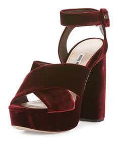 Velvet+Crisscross+125mm+Sandal,+Bordeaux+by+Miu+Miu+at+Neiman+Marcus.