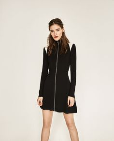 Image 1 of HIGH NECK ZIPPED DRESS from Zara