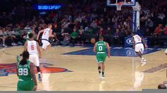 Kristaps Porzingis elevates on the New York Knicks fastbreak off the nice look from Courtney Lee