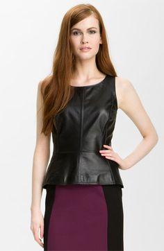Halogen® Leather Front Peplum Top | Nordstrom