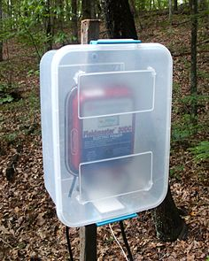 Electric Fence Charger- put it inside a plastic rubber-maid container to protect it from the elements