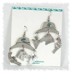 Sterling Silver and Turquoise Western wire-style earrings Western Earrings, Vintage Earrings, Native American Earrings, Western Hats, Horse Head, Turquoise Stone, Hand Stamped, Jewelry Stores, Vintage Shops