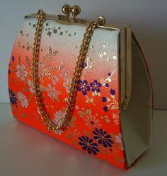 Young girl's handbag orange and gold silk brocade by StyledinJapan, $19.90