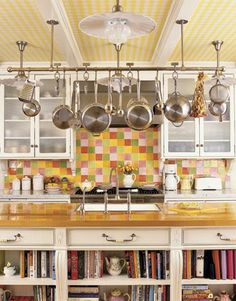 I love pot racks they make a kitchen look fancy!
