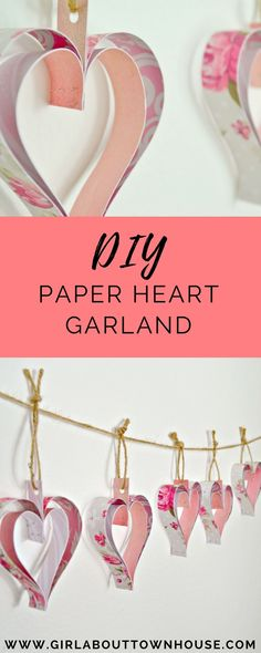 DIY Paper heart garland. A  simple tutorial for this pretty heart decoration, prefect for a wedding, celebration or Valentine's day.