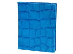 Leather credit card holder in crocodile print black turquoise blue