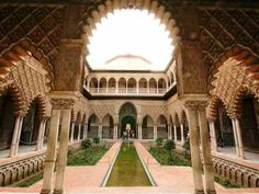 Royal Alcázar of Seville, Spain (Depicted as Water Palaces of Dorne) Patio de Banderas, Sevilla - Game of Thrones - Season 6 Episode 1 - The Red Woman Madrid Tours, Alcazar Seville, Different Architectural Styles, Seville Spain, Granada Spain, Patio, Filming Locations, Moorish, Study Abroad