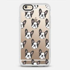 FRENCH BULLDOGS - protective iPhone 6 phone case in Clear and Clear by Katie Reed | Dogs leave paw prints in your heart! Click to see more French Bulldog phone case designs  >>> https://www.casetify.com/search?keyword=french+bulldog# | @Casetify