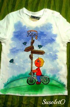 camisetas para los más peques camisetas para los más peques #camisetapintada #pintadoamano #pinturadetela #susoleto #bicicleta