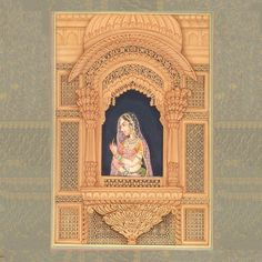 The Heroine in Her Wind-Palace, Mughal Miniature Painting on Paper Mughal Miniature Paintings, Mughal Paintings, Indian Art Paintings, Unique Paintings, Abstract Paintings, Rajasthani Painting, Rajasthani Art, Indian Folk Art, India Art
