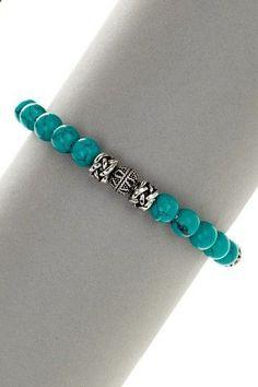 Stainless Steel Turquoise Beaded Bracelet on HauteLook