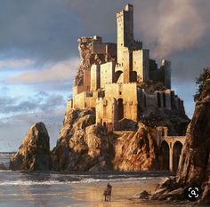 , Rui Padinha Westwatch fortress with 500 soldiers of the legion as well as a dragon and 100 parazes. Fantasy City, Fantasy Castle, Fantasy Places, Medieval Fantasy, Sci Fi Fantasy, Fantasy World, Dark Fantasy, Fantasy Art Landscapes, Fantasy Landscape