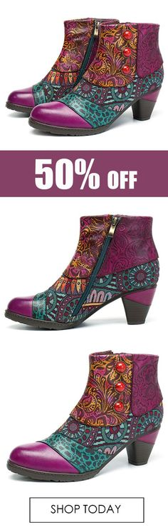 SOCOFY Bohemian Splicing Pattern Button Zipper Ankle Leather Boots. #women #shoes