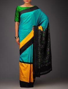 Buy Turqoise Black Yellow Ikat Silk Saree Sarees Woven Golconda Glory from Andhra Pradesh Online at Jaypore.com