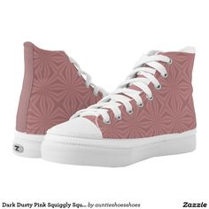 Dark Dusty Pink Squiggly Squares Printed Shoes