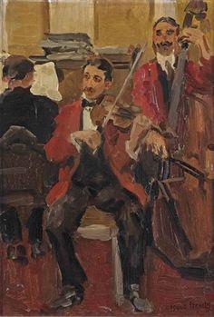 Isaac Israëls - Strijkje in Le Perroquet in Parijs