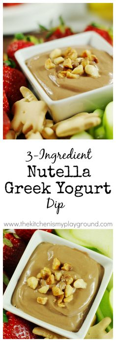 Creamy Nutella Greek Yogurt Dip ~ mix up 3 simple ingredients and enjoy with strawberries, bananas, animal crackers ... or whatever you'd like! www.thekitchenismyplayground.com