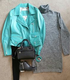 teal and grey outfit