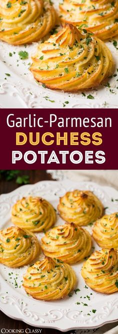 Duchess Potatoes (with Garlic and Parmesan!) – Cooking Classy Duchess Potatoes (with Garlic and Parmesan!) – Cooking Classy Duchess Potatoes with Garlic and Parmesan Cheese are the perfect fancy appetizer! Fancy Appetizers, Appetizer Recipes, Potato Appetizers, Vegetable Appetizers, Christmas Appetizers, Easter Recipes, Potato Dishes, Food Dishes, Fancy Dishes