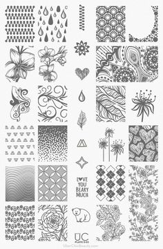 UberChic Nail Stamp Plates - Collection 1 - Includes 3 Unique Nail Stamp Plates