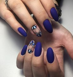 Маникюр | Nails Almond Nails, How To Do Nails, Royal Blue Nails Designs, Blue Matte Nails, Matte Nail Art, Gelish Nails, Nail Manicure, Fabulous Nails, Gorgeous Nails