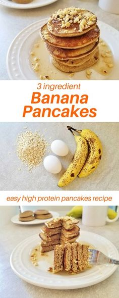 3 Ingredient Banana Pancakes Recipe – Run Eat Repeat Easy 3 ingredient banana pancakes recipe. This quick breakfast recipe only has 3 ingredients that you probably already have! It's gluten free and high protein for a weekday or Banana Oat Pancakes, Pancakes Easy, Banana Pancake Recipes, 3 Ingredient Pancakes Banana, Healthy Pancake Recipe, Pancakes From Bananas, Recipe For Pancakes, Banana Recipes Quick, Easy Pancake Recipe For Kids