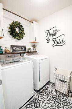 Laundry Room Makeover - Easy, Budget Friendly, and 1 Day Project Laundry Room Shelves, Laundry Room Remodel, Laundry Decor, Laundry Room Organization, Basement Laundry, Laundry Room Design, Laundry In Bathroom, Small Laundry Rooms, Laundry Room Makeovers